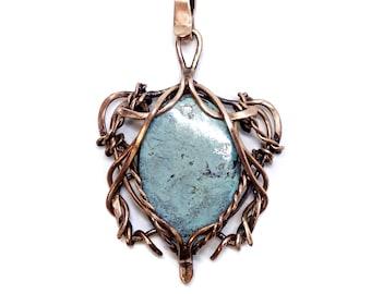 Copper necklace, turquoise necklace, everyday necklace, blue necklace, gift for her, gift for mom, birthstone necklace, boho necklace.