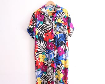 Tropical Pattern 90s Shirtdress