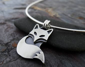 Silver Fox Pendant    hand fabricated sterling silver pendant    nature inspired metalsmith jewelry (4491)