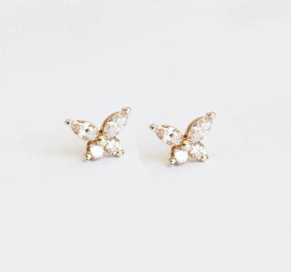 Butterfly Earrings Diamond Earrings Diamond Studs Gold