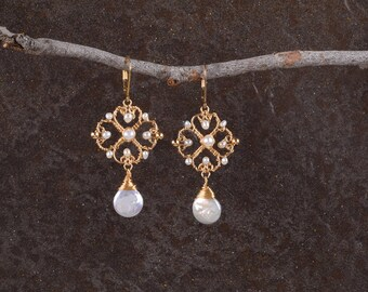 Gold Pearl Earrings,Pearls Unique Earrings,Ethnic Earrings, Elegant Earrings, Gold Flower Dangle Earrings, Pearls Jewelry, 14K Gold Filled