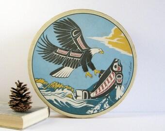 "Vintage Clarence Wells Drum - Eagle and Salmon Silkscreen Print - 11"" Ceremonial Shaman Hand Drum - Indigenous Haida Art Musical Instrument"