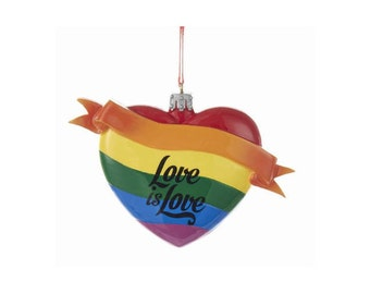 FREE SHIPPING Love is Love Heart Personalized Christmas Ornament / LGBTQ / First Christmas / Hand Personalized Names or Message