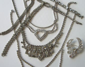 DESTASH lot vintage rhinestone jewelry wearable or recycle upcycle