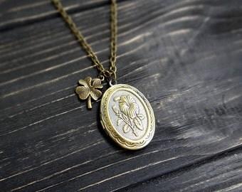 Secret message locket necklace lucky charms four leaf clover necklace inspirational necklace photo necklace inspirational quote jewelry gift