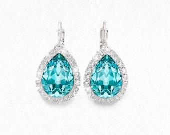 Light Turquoise Blue Swarovski Crystal Lever Back Earrings, Fancy Turquoise Swarovski Crystal Teardrop Earrings, Bridal Bridesmaid Earrings