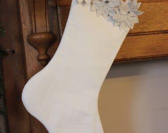 White Linen Stocking with Felt Poinsettia Detail