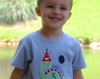 Dinosaur Birthday Shirt, Personalized Birthday T-shirt, Dinosaur Party Tee, 1st 2nd 3rd 4th 5th Birthday, Boy's Dinosaur Outfit, Name Top