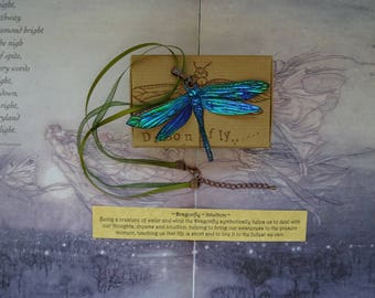 Shimmering Dragonfly Ribbon Necklace ~ Electric Blue