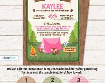 camping party invitations for girls camping birthday invitations camping party supplies instant access - Camping Party Invitations
