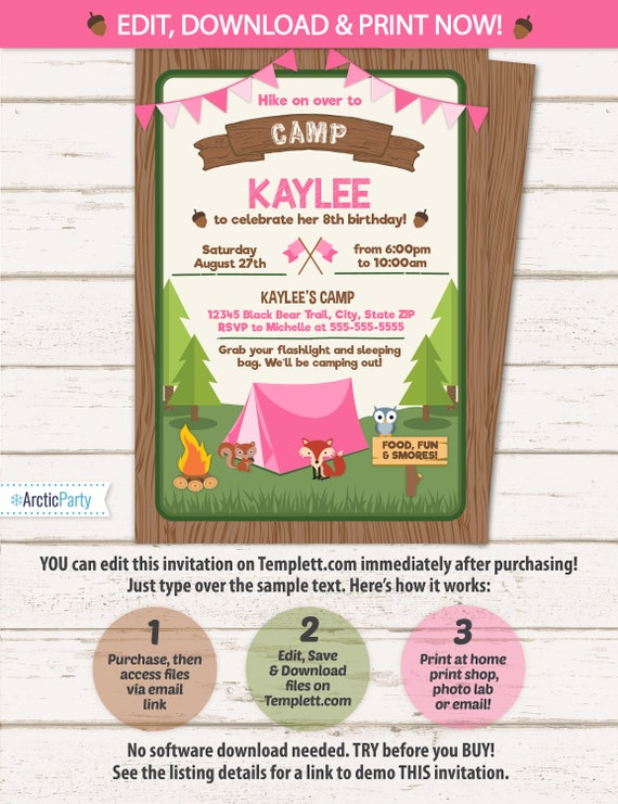 camping party invitations for girls camping birthday invitations camping party supplies instant access edit now with templettcom - Camping Party Invitations