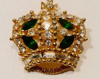 Vintage Bellini Crown Rhinestone Brooch