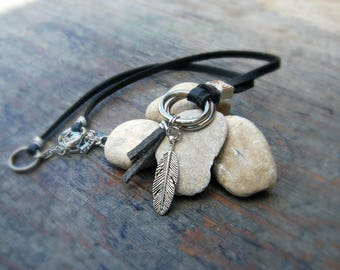 Leather Necklace, Men's Necklaces, Man Leather Necklace, Boho Necklace for Men, Feather Necklace, Bohemian Jewelry For Men, Gift for Him