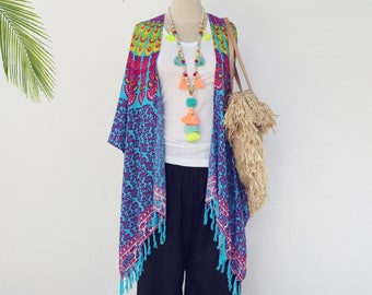 Kimono robe .. Colorful Mandala  Boho Beach Kimono cardigan -  Flowy rayon  beach coverup jacket  /  Kimono with fringe