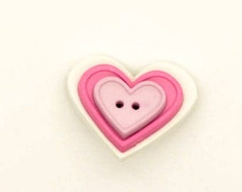 Heart Brooch - Pink Heart Buttons - Button Brooch - Pink Brooch - Heart Button Pin - Button Jewelry - Plastic Brooch - Heart Themed Gifts