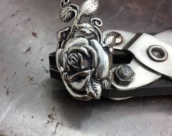 Silver Rose Ring, Sterling siver Flower Ring, Sterling silver Rose, Floral Jewelry, Gothic Jewelry