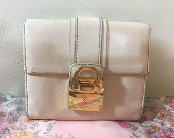 Salvadore Ferragamo Light Pink Leather Square Wallet, made in Italy, / Free Shipping!