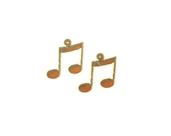 Music Note Rusty Metal Earrings (Sold As A Pair)