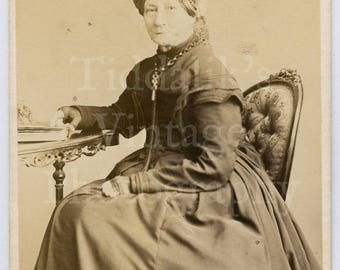 CDV Carte de Visite Photo Victorian Seated Old Lady in Mourning Hoop Dress Portrait - G & R Lavis of Eastbourne England - Antique Photograph
