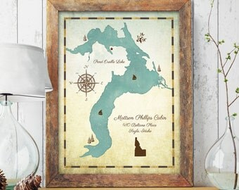 Lake House Decor, Personalized Lake Map, Custom Lake Map, Lake Decor, Lake House, Lakehouse Decor, Lake House Sign, Family Cabin Art