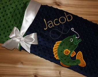 Fishing -Personalized Minky Baby Blanket - Navy Minky/ Green Minky - Embroidered Bass Fish