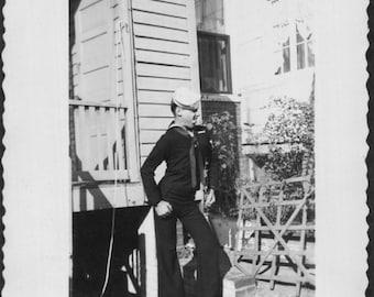 Vintage Photo of a Silly Sailor, 1940's Original Found Photo, Vernacular Photography