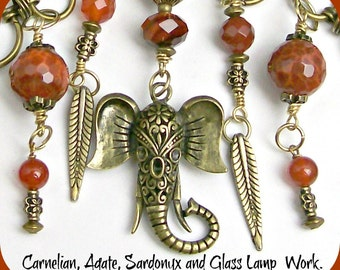 Antique Brass Elephant Pendant -  Bohemian Style Necklace-  3 Red Gems- Carnelian, Sardonyx and Agate Gems-  Brass Jungle -Includes Earrings