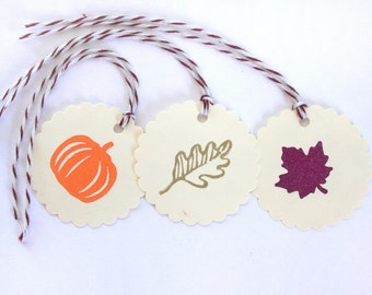 Fall Leaf tag set 15 Thanksgiving Candy bag tags gift present harvest Holiday decor