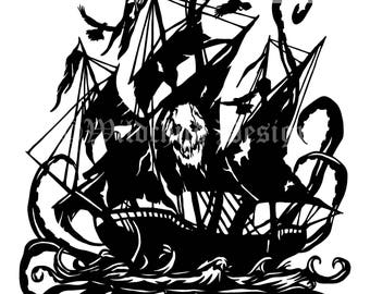 Phantom Pirate Ghost Ship Paper Cutting Template for Personal or Commercial Use Octopus Cthulhu Gothic Myth Skull Crossbones Black Sails Sea
