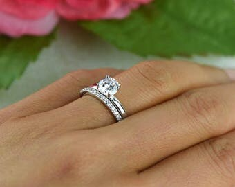 1 ctw Round Bridal Set, Solitaire Ring, Half Eternity Band, Wedding Set, Man Made Diamond Simulant, Engagement Ring, Sterling Silver
