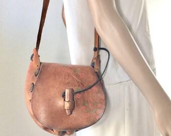 Tooled Leather Purse, Bag, 1980, Shoulder Bag Saddle Bag