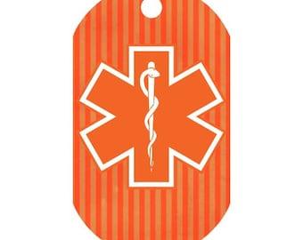 Custom Medical Alert Necklace in Orange Stripe | Medic Tag | Medical Alert ID | Medical Alert Jewelry | Front and Back Included