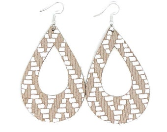Leather Earrings / Genuine Leather  / Cutout Teardrop / Lightweight