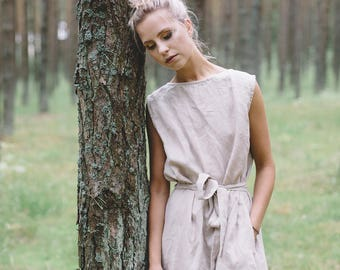 Summer linen dress/ Prom dress / Summer dress / Linen dress / Linen sundress/ Maxi dress/ Swing dress/ Linen tunic/ #30D NIDA