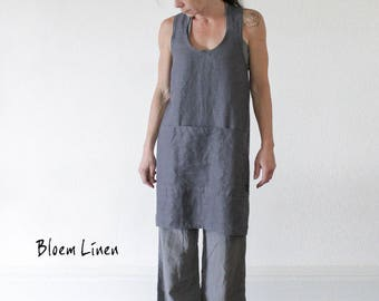 Tablier en lin en ardoise gris, croisées dans le dos, sans attache tablier, tablier chasuble, lin naturel, respectueux de l'environnement