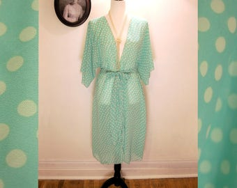 1930's Inspired Dressing Gown ~ Mint Green and Cream Polka Dots