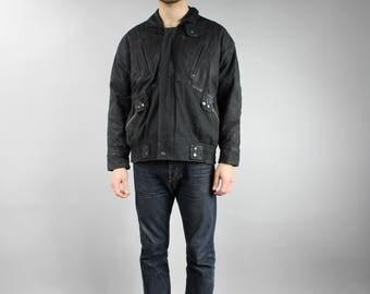 90s Vintage Black Canvas BOMBER Jacket, Warm Winter Jacket, Short Aviator Flight Zip up Biker Moto Rocker Jacket, Men's Outerwear Size Large