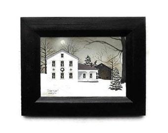 Christmas Decor, Silent Night, Billy Jacobs, Art Print, Holiday Decor, Wall Hanging, Handmade, 7X9, Custom Wood Frame,  Made in the USA