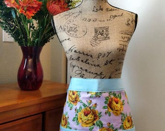 Yellow Rose in Purple Half Apron / Cotton / Spring / Long