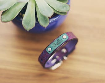 Personalized Leather Small Dog Collar, Custom Leather Tiny Dog Collar, Handmade personalized, Branches Pattern, Purple, Girl, FREE Name