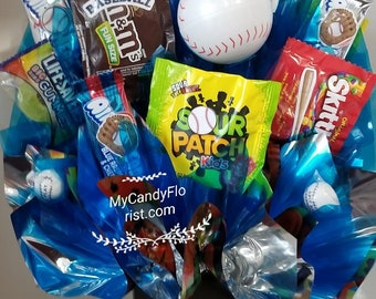 BASEBALL Candy Bouquet Stuffed with Baseball Gumballs, Lots More Delicious Goodies & Fun!  Only One - So Hurry! FREE SHIPPING