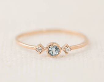 14k rose gold aquamarine diamond ring, dainty unique engagement ring, march birthstone, antique inspired ring, sta-r103