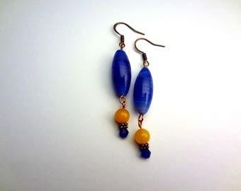 Blue and Orange Glass Drop Earrings
