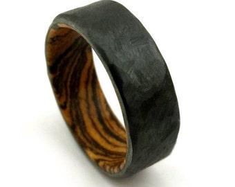 Black Wood Ring, Bocote Ring, Black Zirconium, Hammered Design, Wavy Wood Ring, Unique Wood Grain, Handmade Jewelry, Handmade Ring