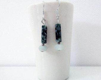 Green Dangle and Drop Earrings, Semi Precious Gemstones, Stone Jewellery, Amazonite Beads, Sterling Silver Hooks, Gift for Girlfriend, Boho