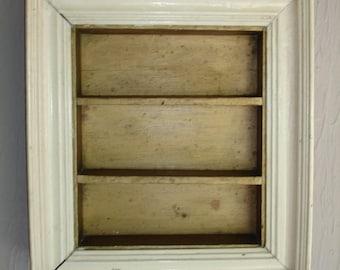 Vintage Farmhouse Shabby Shadow Box Curio Cabinet