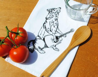 Tea Towel - Cotton Flour Sack Material - Howling Wolf Playing Guitar  - Dish Towel Cup Towel - Wolf Towel - Guitar Towel - Musician Gift