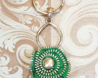 Zipper keychain-Green metal zipper