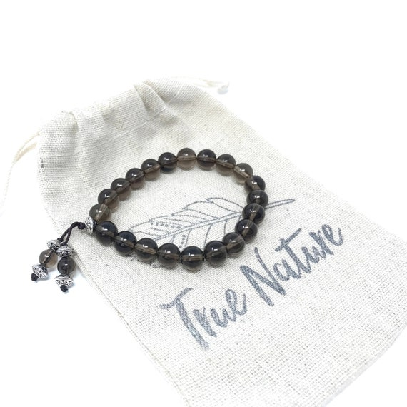 Smoky Quart Mala Bracelet, Beaded Stretch Bracelet, Bracelet To Match Your Mala Beads, Yoga Jewelry, Yoga Meditation Beads, Boho Jewelry