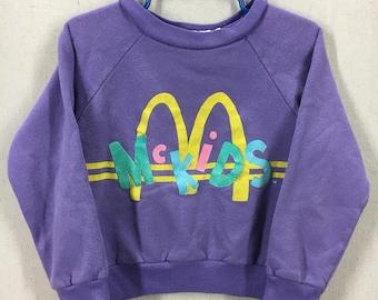 KIDS Vintage 90's McDonalds McKids Crewneck Sweatshirt Size Youth Medium 5-6